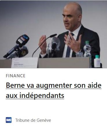 Berne va augmenter son aide aux indépendants